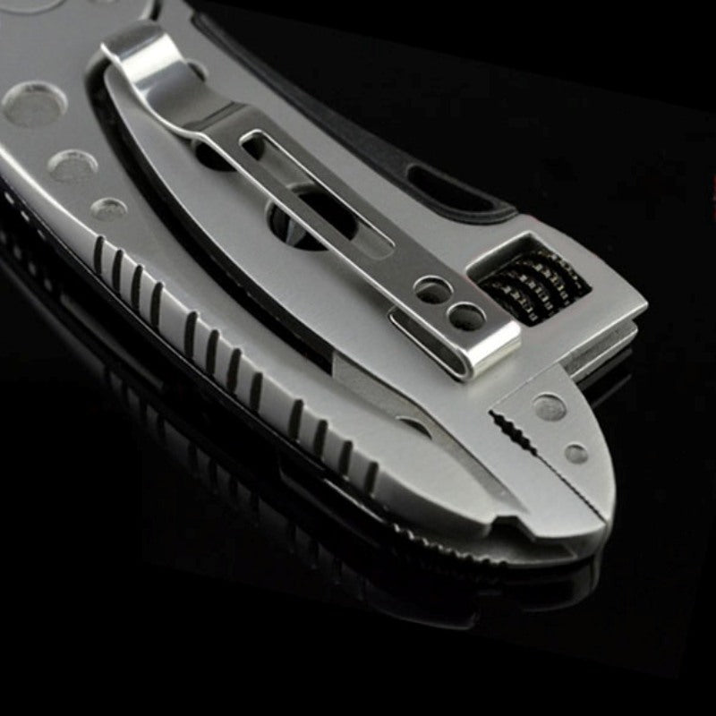 Portable Adjustable Wrench Stainless Steel Jaw + Screwdriver + Pliers + Knife Survival Multitool