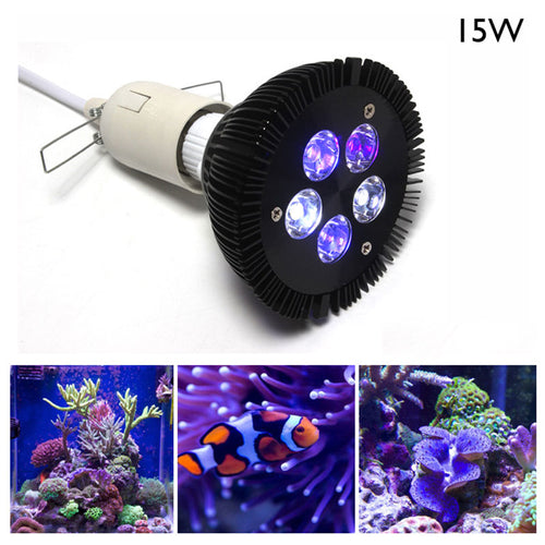 High Powered LED Lamp E27 15W LED Coral Reef Grow Light Bulbs Grow Lamp For Plants Fish Tank Aquarium