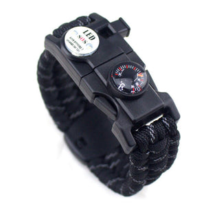 Multifuctional LED Light Thermometer Paracord Survival Outdoor Camping Compass Rope Bracelet Men & Women