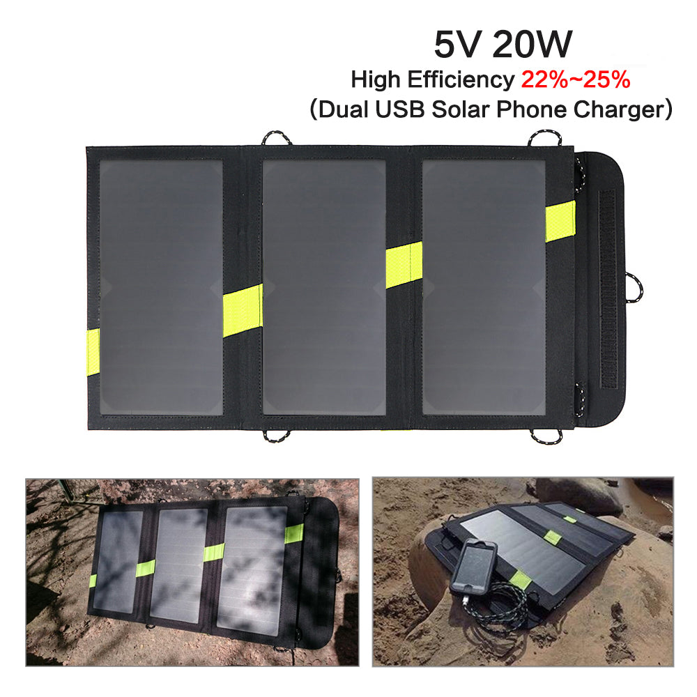 Foldable Portable Solar Panels 5V 20W Solar Battery Mobile Phone Charger for iPhone Xiaomi Samsung HTC LG iPad