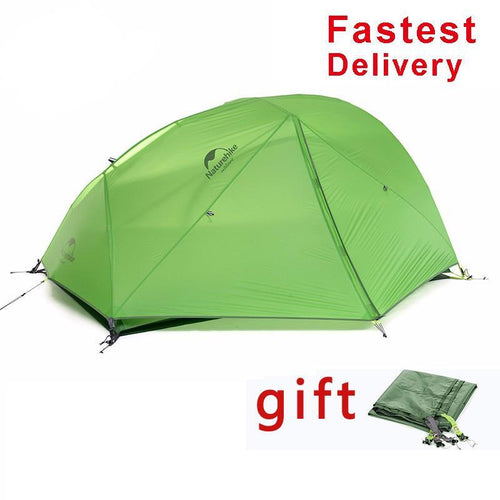 1.24kg Lightweight 20D Silicone Fabric Double-layer Camping 2 Person Tent