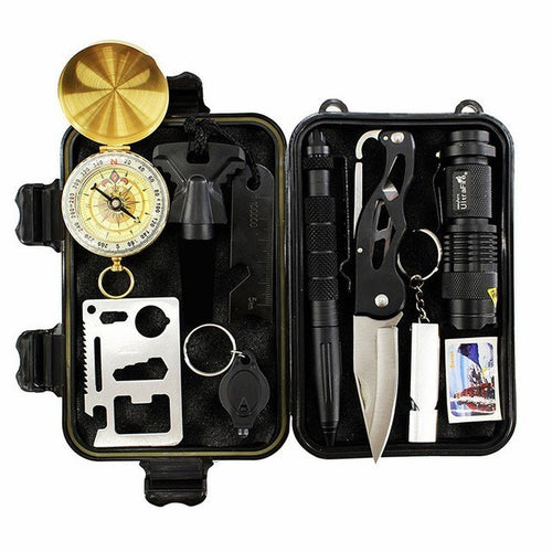 10 In 1 Professional Emergency Survival Gear First Aid Kit Outdoor Camping Hiking Survival Tools With Whistle Flashlight Tactical Pen