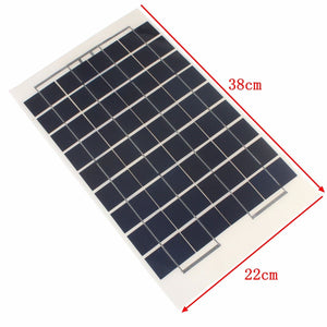 Solar Panel 12V 10W PolyCrystalline Transparent Epoxy Resin Cells DIY Module With Block Diode 2 Alligator Clips 4m Cable