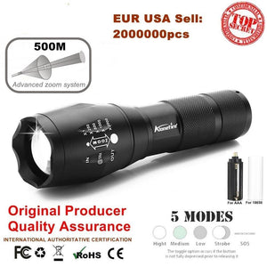 AloneFire E17 XM-L T6 5000LM Aluminum Waterproof Zoomable CREE LED Flashlight Torch light for Rechargeable Battery or AAA