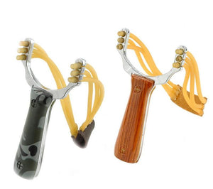 Outdoor Self-defense Rubber Band Slingshot Aluminium Alloy Powerful Steel Catapult Marble