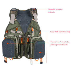Army Green Adjustable Fly Fishing Vest Pack Multifunction Pockets Outdoor Sports Fishing Vest Backpack Fish Accessory