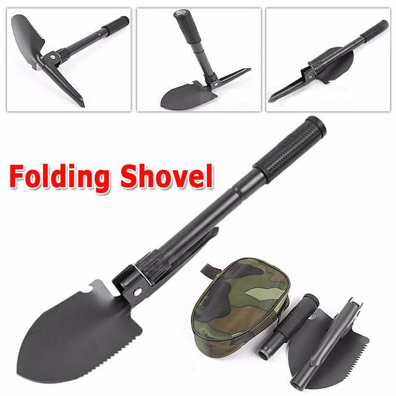 Durable Stainless Steel Foldable Mini Shovel Spade Shape For Emergency Pick Camping Outdoor Tool