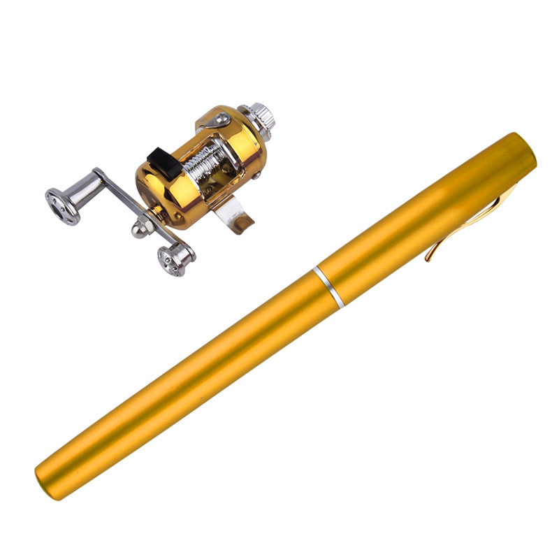 Mini Portable Aluminum Alloy Pocket Pen Shape Fishing Rod Pole With Reel