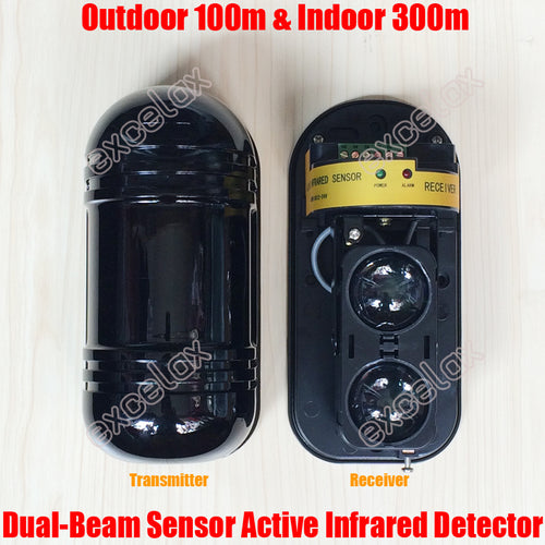 Photoelectric Dual Beam Sensor Infrared Active Intrusion IR 30m 60m 80m 100m Outdoor Perimeter Wall Window Fence Alarm