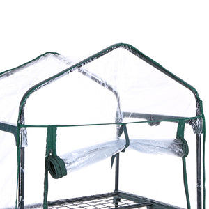 iKayaa Outdoor Greenhouse Garden 4 Tier Mini Green House Growbag W/ Shelves Metal Frame & PVC Cover US DE Stock