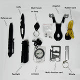 10 In 1 Survival Kit Outdoor And Camping Travel Multifunction First Aid Sos  Edc Emergency Supplies Tactical + Slingshot