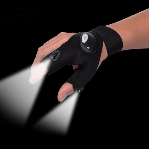1pc Fingerless Glove with LED Light Flashlight For Outdoor Camping Hunting With Magic Strap