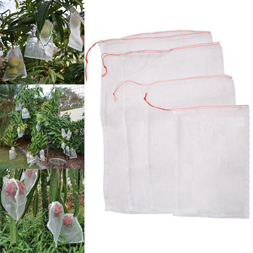 50pcs Garden Plants Vegetable Fruit Protection Anti Bird Drawstring Netting Mesh Bag for Agriculture Pest Control Tools
