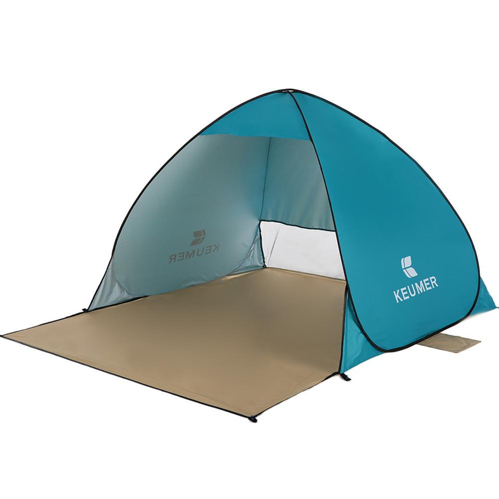 Beach Tent Pop Up Open Camping Fishing Hiking Outdoor Automatic Instant Portable (120+60)*150*100cm Anti UV Shelter