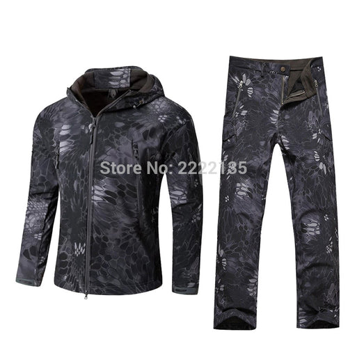 Tactical Men Shark Skin Waterproof Hooded Hunting Hiking Suit Camouflage Military Jacket + Pants