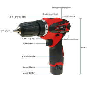 12V Power Tools Electric 2 Batteries Cordless Drill Screwdriver Plastic Boxed
