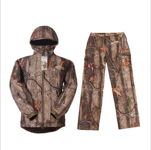 Hunting Jacket + Pants Outdoor Camouflage Soft Shell Shooting Climbing Fishing Waterproof Breathable