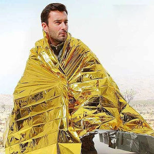 210X160 Water Proof Emergency Survival Rescue Blanket Foil Thermal Space First Aid Sliver Rescue Curtain Outdoor