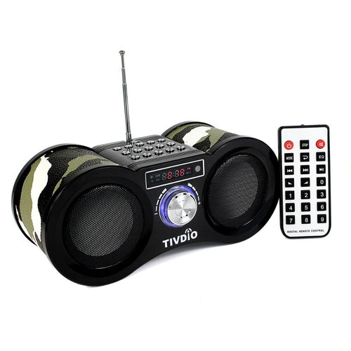V-113 FM Radio Stereo Digital Radio Receiver Speaker USB Disk TF Card MP3 Music Player Camouflage + Remote Control