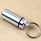 6pcs Waterproof Aluminum Pill Box Case Bottle Cache Drug Holder Medicine Keychain