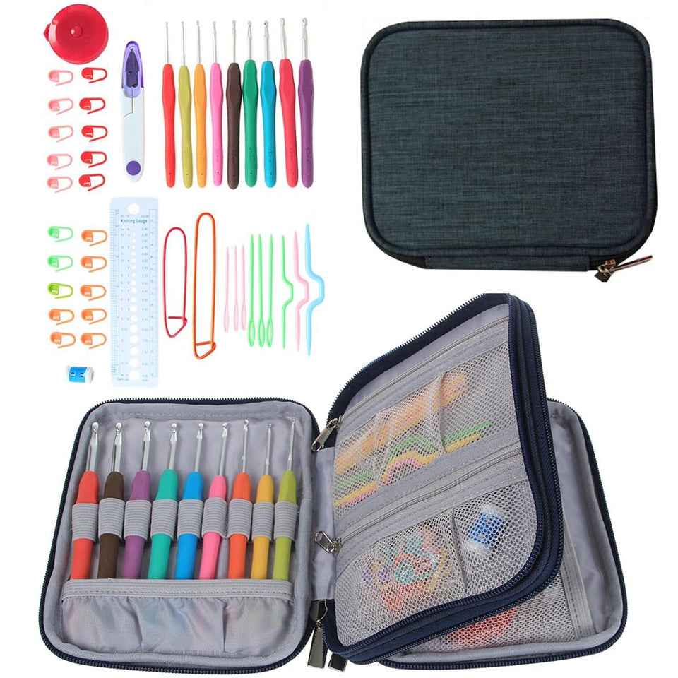 45pcs/set Crochet Hooks Stitches Knitting Needle Kit with Zipper Organizer Case DIY Crafts & Home Supplies