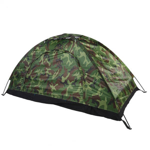 Outdoor Beach Tent Camouflage Camping Lightweight Single Layer Waterproof With Polyester Fabric & Carry Bag