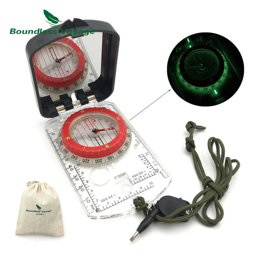 Boundless Voyage Outdoor Camping Climbing Multifunction Geologic Military Fluorescent Compass with Small Light