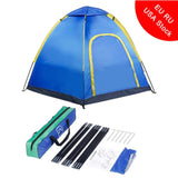 Waterproof Hexagonal Large Camping Tent Outdoor Hiking Tourist Travel Tent Blue Beach Park Awning Shelter For 3-4 Persons