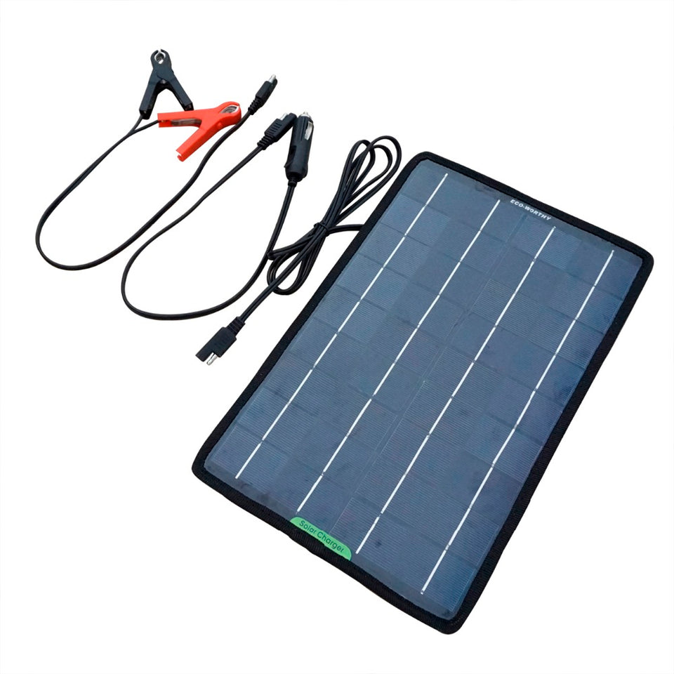 12VV 10W Portable Power Solar Panel Battery Charger for Car Boat with Alligator Clip Adapter