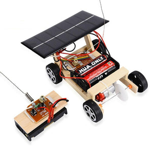 DIY Solar RC Vehicle Wooden Assembly Science Model Educational Toy For Kids