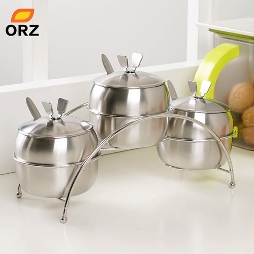 7Pcs/Set Kitchen Supplies Apple Shape Stainless Steel Condiment Container Salt Sugar Bowl