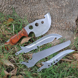4pcs Outdoor Multi Folding Survival Tools Knife + Axe + Wrench + Saw Camping Travel Kit