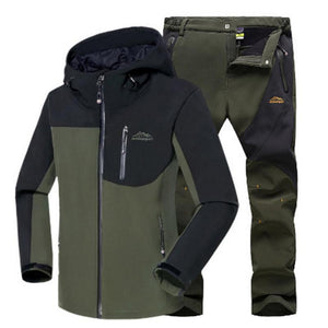 Waterproof Fleece Soft Shell Outdoor Jacket Pants/Set Sport Hiking Trousers 5XL S36 For Men