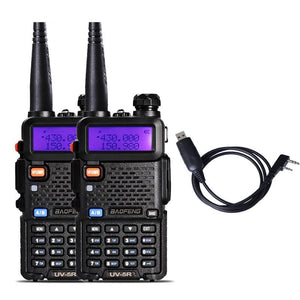 2pcs Baofeng Uv-5r Dual Band Portable Walkie Talkie Radio Transceiver Dual Display