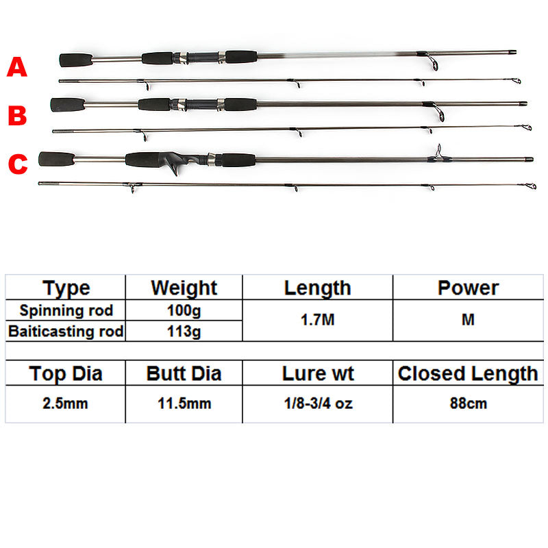 Ultralight Fishing Rod With 2 Sections Canne Spinning Lure Casting