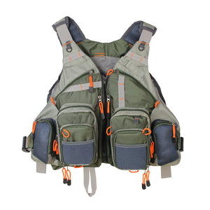Army Green Adjustable Vest with Multifunction Pockets Outdoor Sports Fishing Vest Backpack Accessory