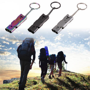 Double Pipe High Decibel Stainless Steel Outdoor Emergency Survival Whistle Keychain Whistle Multifunction Tool