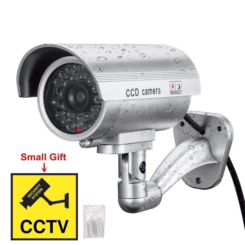 Fake Security CCTV Camera Waterproof With Flashing Red LED Realistic Look Bullet Indoor Outdoor