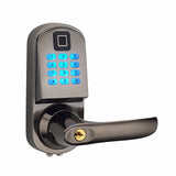 Electronic Keyless Door Lock That Unlocks With Code And Fingerprint And Mechanical Key (HFAS200FP)