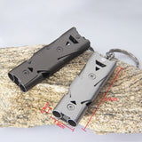 High Quality Double Pipe High Decibel Stainless Steel Outdoor Emergency Survival Whistle Keychain