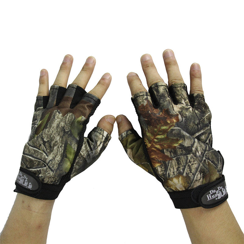 Hunting Gloves Anti-Slip 3 Fingers & 5 Cut Fingers Outdoor Camping Cycling Half Finger Gloves Lightweight