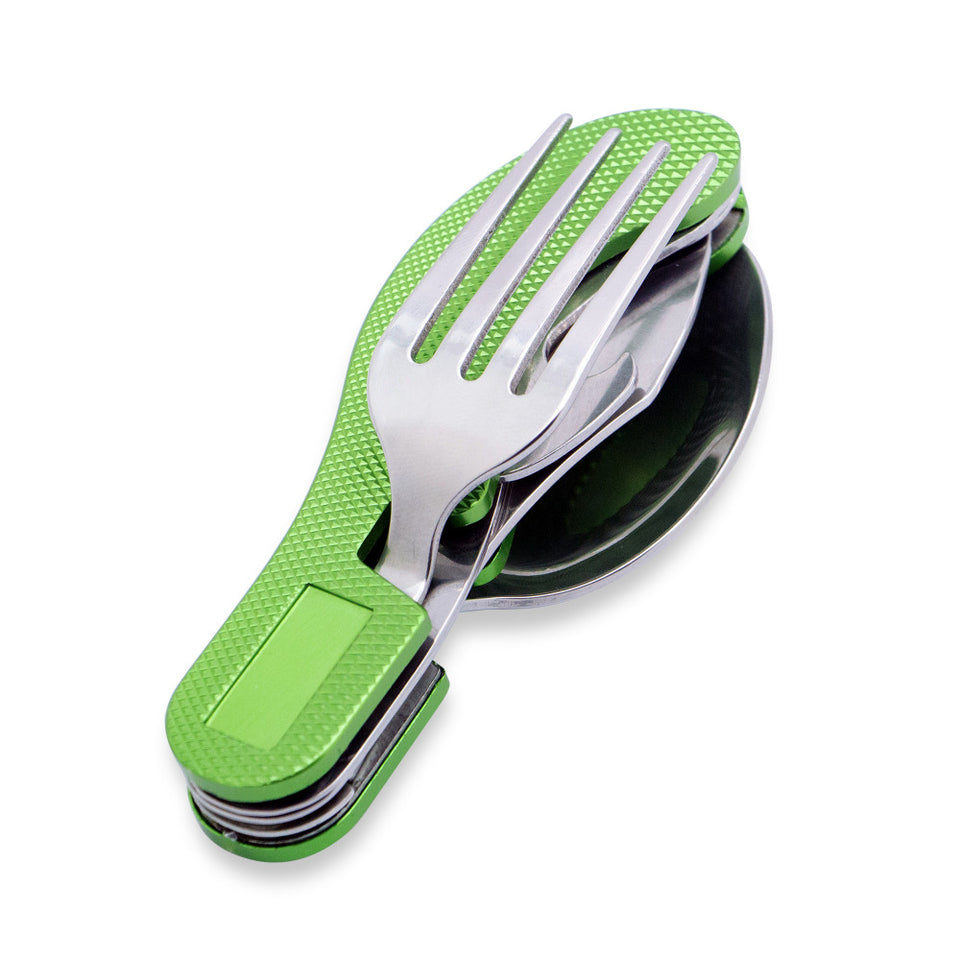 Multitool Outdoor Folding Tableware Stainless Steel Pocket Knife Fork Spoon Bottle Opener Camping Picnic Tool Set