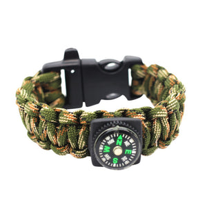 Multi-Function Emergency Survival Bracelet For Men Women Outdoor Rescue Parachute Wristband Whistle Compass Paracord
