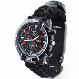 Z606 Outdoor Travel Seven Core Hand-Woven Rope Camping Survival Multifunctional Whistling Compass Paracord Watch
