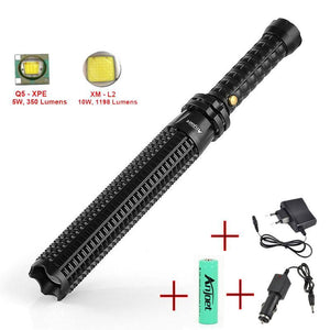 Powerful Led Rechargeable Flashlight Xml Q5/l2 Telescopic Self Defense Baton