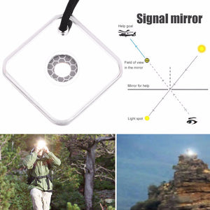 Heliograph Signal Mirror With Whistle Multifunctional Outdoor Emergency Survival Tool With Targeting Function
