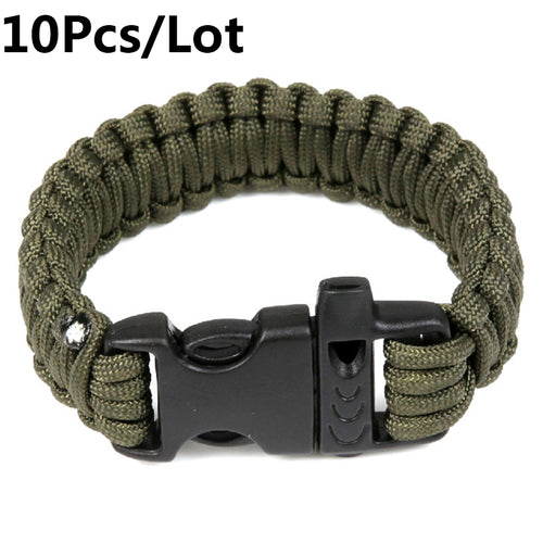 Survival Utility Tactical Hunting Camping Climbing Paracord Whistle Braided Rope Wrist Band