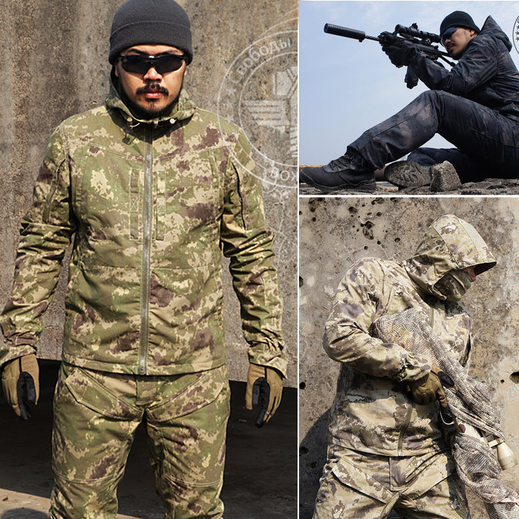 Men's Tactical Hunting Gear Outdoor Sports Hoodie Jacket and Pant For Airsoft Camping Hiking Survival