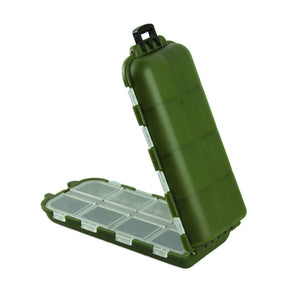 8 Compartments Storage Case Safety Army Green Plastic Fishing Hook & Tackle Box