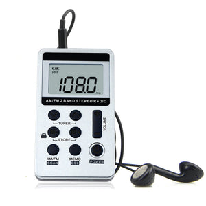 Portable Radio FM/AM Digital Mini Receiver With Rechargeable Battery & Earphone Radio Recorder + Lanyard